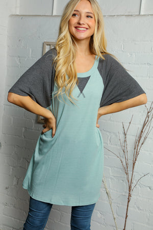 Plus Off Blue & Charcoal Grey Raglan Blouse