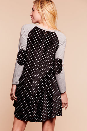 Grey & Black Polka Dot Elbow Patch Dress