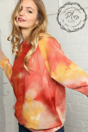 Plus Rust & Yellow Thermal Tie Dye Mix Blouse