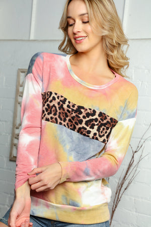 Plus Multi Tie Dye Animal Print Detail Sweater