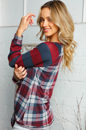 Navy Burgundy Plaid Design Stripe Sleeve Raglan Tie Hem Blouse