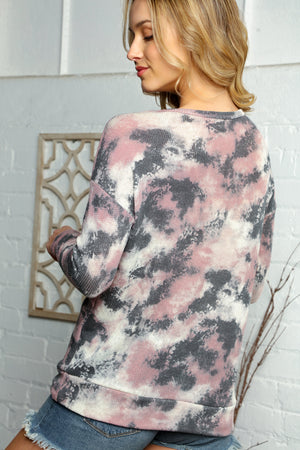 Plus Black & Pink Tie Dye Animal Print Color Block Sweater
