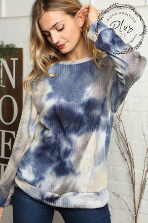 Plus Grey & Navy Thermal Tie Dye Mix Blouse