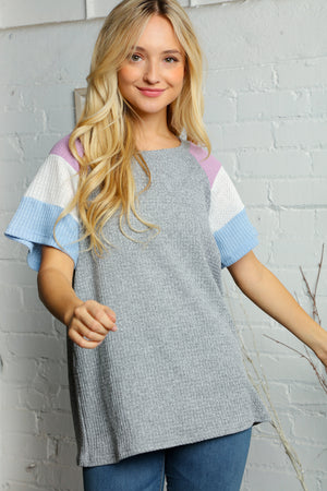 Heather Grey Lavender & Blue Waffle Color Block Raglan Blouse
