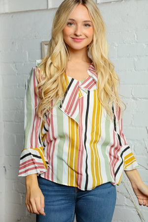 Ivory Multi Color Vertical Line Blouse