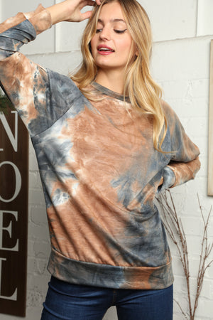 Brown Mix Tie Dye Blouse