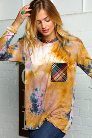 Mustard Tie Dye Mix Pocket Plaid Blouse