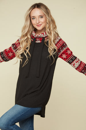 Black & Red Christmas Raglan Cowl Neck Sweater