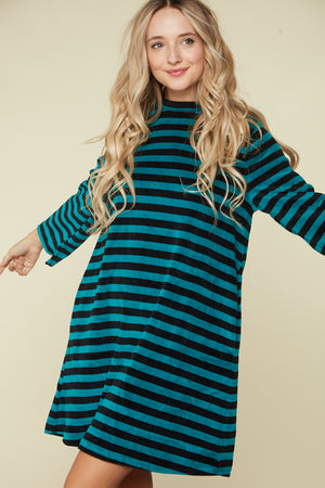 Teal Stripe Back Key Hole Button Dress