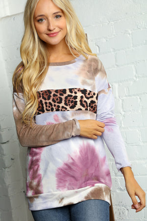 Blue & Brown Tie Dye Animal Print Detail Blouse