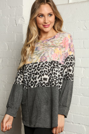 Floral Animal Print Color Block Blouse