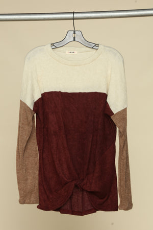 Ivory Burgundy & Taupe Color Block Twist Hem Blouse
