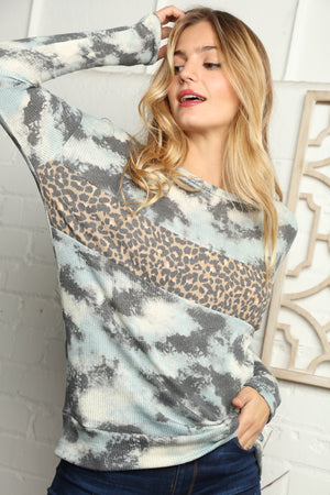 Blue Tie Dye Animal Print Color Block Blouse