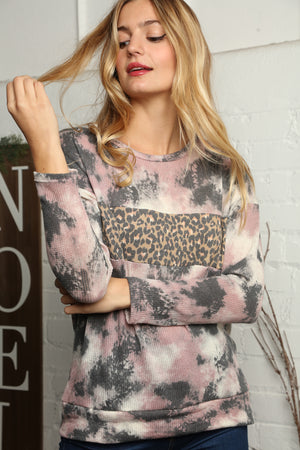 Plus Black & Pink Tie Dye Animal Print Color Block Blouse