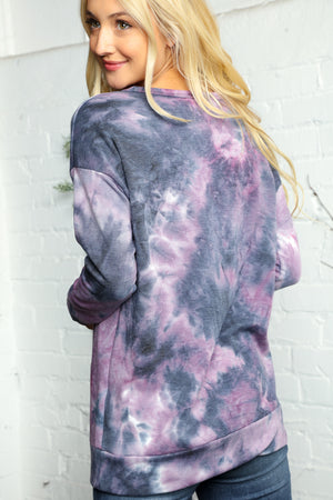 Plus Navy & Purple Tie Dye Animal Print Detail Blouse