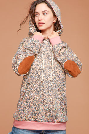 Plus Taupe Animal Pocketed Elbow Patch Hoodie