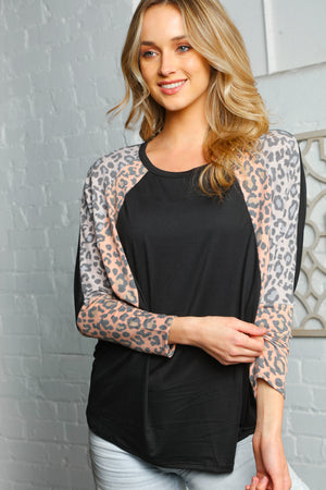 Peach Black & Grey Dolman Animal Print Blouse