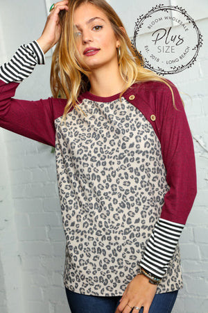 Plus Taupe Wine & Black Animal Print Raglan Blouse