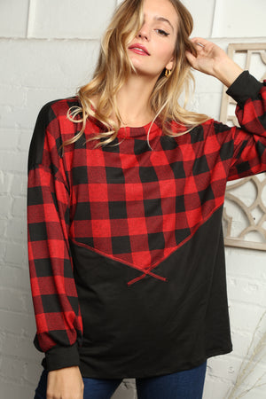 Red & Black Plaid Reverse Stitch Color Block Blouse