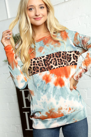 Blue & Orange Tie Dye Animal Print Detail Blouse