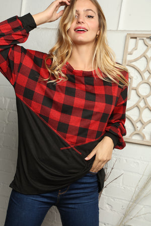 Plus Red & Black Plaid Reverse Stitch Color Block Blouse