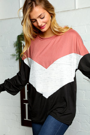 Mauve Ivory & Black Rib Chevron Bubble Sleeve Blouse