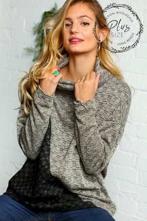Plus Taupe & Black Textured Asymmetrical Color Block Sweater