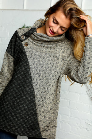 Taupe & Black Textured Asymmetrical Color Block Sweater