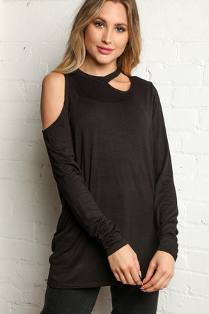 Plus Black Solid Cut Out Cold Shoulder Blouse