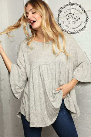 Plus Heather Grey Solid Babydoll Blouse