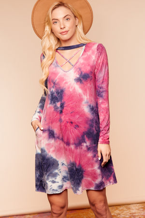 Plus Black & Mauve Mix Tie Dye Criss Cross Dress