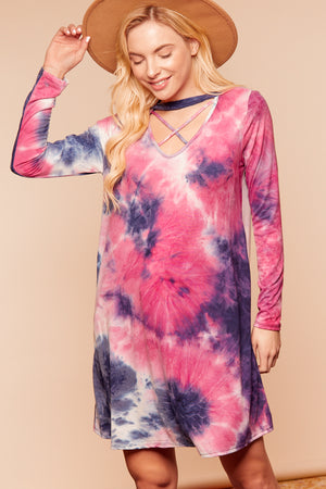 Mix Tie Dye Criss Cross Dress