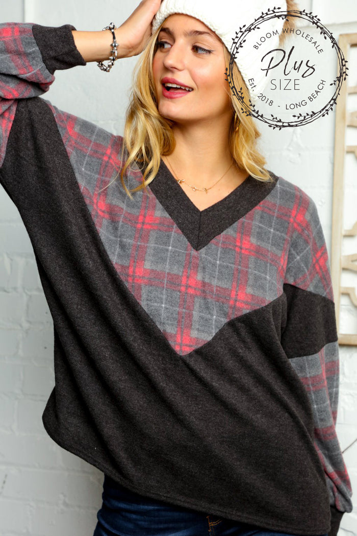 Plus Charcoal & Red Plaid Chevron Color Block Blouse