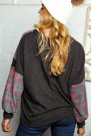 Charcoal & Red Plaid Chevron Color Block Blouse