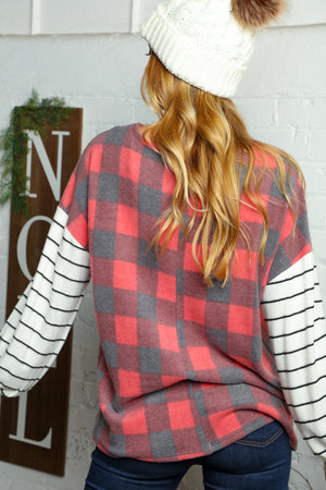 Red Black & Ivory Plaid Criss Cross Blouse