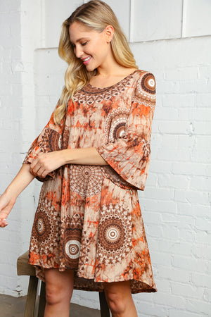 Taupe Design Bell Sleeve Dress