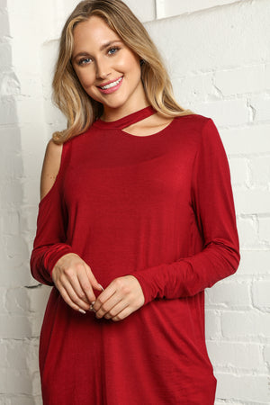 Plus Wine Solid Cut Out Cold Shoulder Blouse
