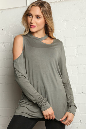 Solid Olive Cut Out Cold Shoulder Blouse