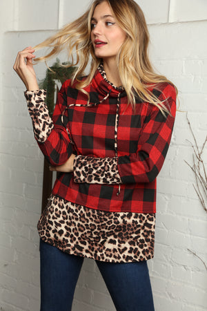 Black & Red Mocha Plaid Animal Print Turtle Neck Blouse (2 pcs 1-0-1)