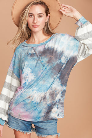 Plus Tie Dye Color Block Stripe Bubble Sleeve Top