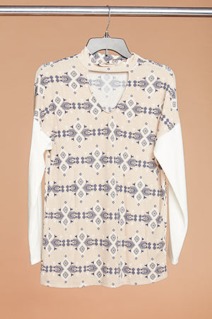 Taupe & White Printed Choker Sweater