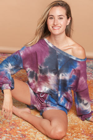 Purple & Blue Tie Dye Sweater (TOP)