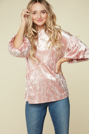 Blush Bubble Sleeve Velvet Blouse