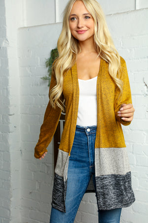 Butterscotch Two Tone Color Block Open Cardigan