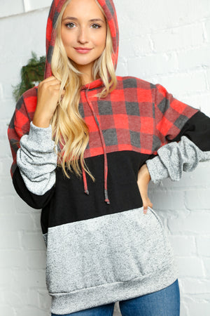 Plus Black Grey & Red Plaid Color Block Hoodie