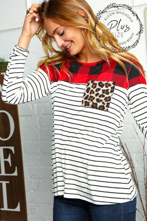 Plus Ivory Black & Red Plaid Stripe Animal Print Color Block Blouse