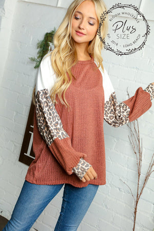 Plus Rust Color Block Sleeve Ribbed Animal Print Blouse