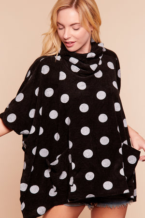 Black Polka Dot Cowl Neck Sweater