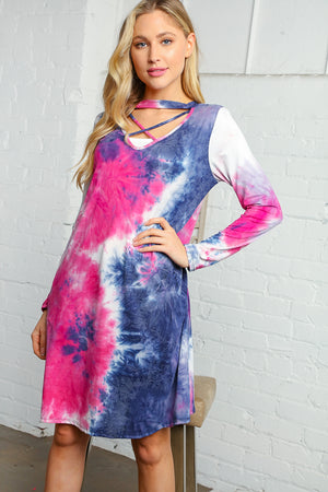 Navy & Magenta Tie Dye Criss Cross Choker Tunic Dress