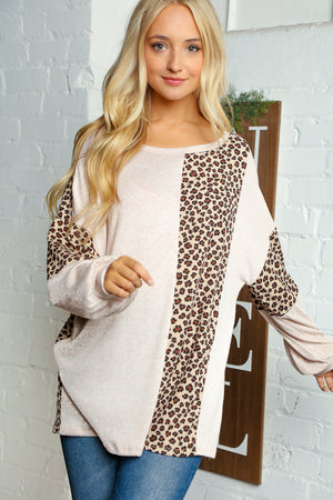 Plus Oatmeal & Camel Two Tone Hacci Animal Print Color Block Blouse